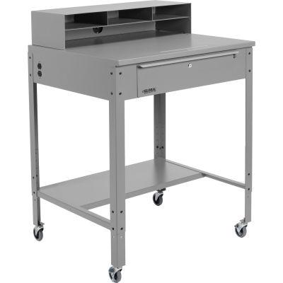 Global Industrial™ Mobile Shop Desk - Pigeonhole Riser 34-1/2 x 30 x 38 Flat Surface - Gray