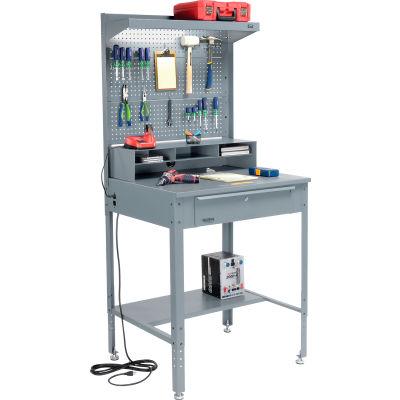 Global Industrial™ Shop Desk - Riser, Pegboard & Top Shelf 34-1/2 x 30 x 38 Flat Surface - Gray