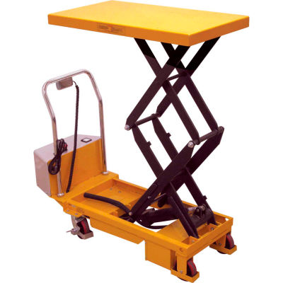Wesco® Battery Powered Lift Double Scissor Lift Table 273713 770 Lb. Capacity