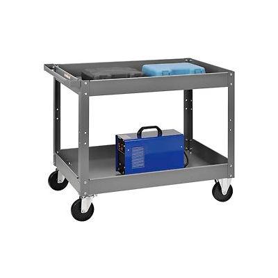 2 Shelf Deep Tray Steel Stock Cart 36x24 500 Lb. Capacity