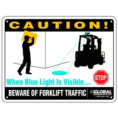 "Beware of Forklift Traffic Safety Warning Sign - 12"" x 9"" Plastic"