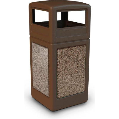42 Gallon StoneTec® 72045599 Square Receptacle with Dome Lid - Brown w/Riverstone Panels