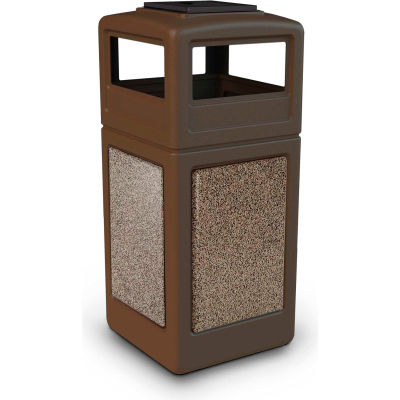 42 Gallon StoneTec® 72055599 Square Receptacle with Ashtray Lid - Brown w/Riverstone Panels