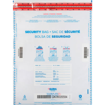 "Global Industrial™ FraudStopper™ Tamper Evident Clear Deposit Bag, 15""W x 20""H, 100/Pack"