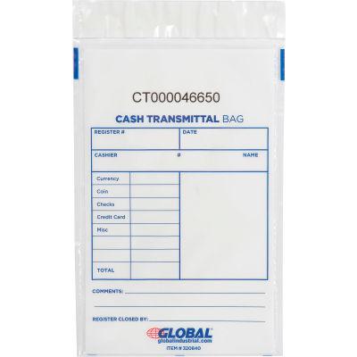 "Global Industrial™ Cash Transmittal Clear Bag, 6""W x 9""H, 100/Pack"