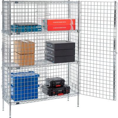 "Nexel® Chrome Security Shelving Unit, 2 E-Z Adjust Shelves, 48""W x 14""D x 66""H"