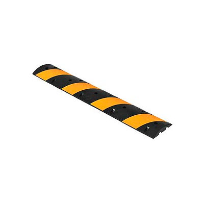 "Global Industrial™ 72"" Portable Rubber Speed Bump, Yellow Stripes"