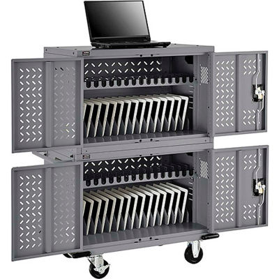 32-Device Charging Cart for Chromebooks™ Laptops and iPad® Tablets, Gray, Unassembled