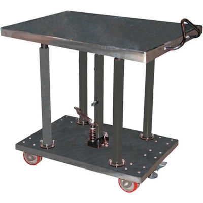 Stainless Steel Hydraulic Post Lift Table HT-20-3036A-PSS 30x36 2000 Lb.