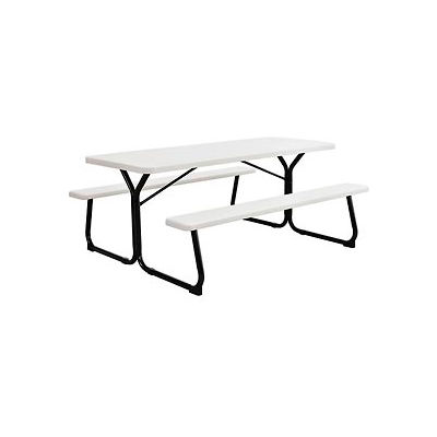Global Industrial™ 6 ft. Outdoor Blow Molded Plastic Picnic Table - White