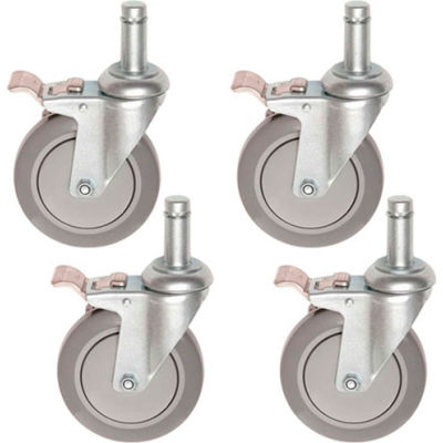 "Nexel® CA5BP4 (4) Swivel Brake Stem Casters, 5"" Polyurathane, Set of (4), 1200 lb Capacity"