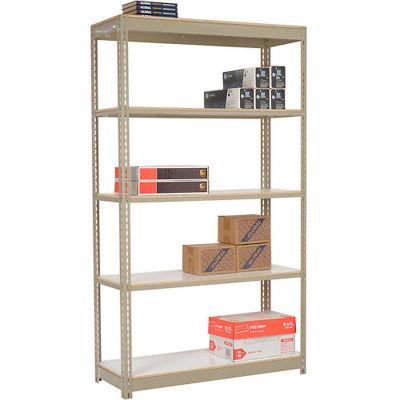 "Heavy Duty Tan Shelving 36""W x 18""D x 84""H With 5 Shelves - Laminate Deck"