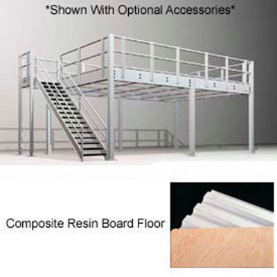 """9'H Pre-Engineered Mezzanine (36'W x 32'D) With Resin Board Over 1-1/2"""" Corrugated Steel Deck"""