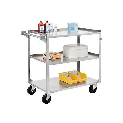 Global Industrial™ Stainless Steel Utility Cart 39-1/4 x 22-3/8 x 37-1/4 500 Lb Cap