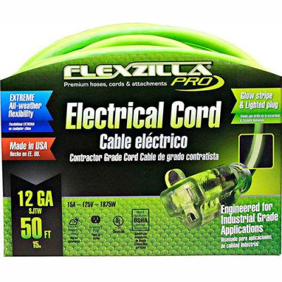 Flexzilla FZ512830 Pro Extension Cord, 50', 12/3, All-weather, Lighted Plug, ZillaGreen