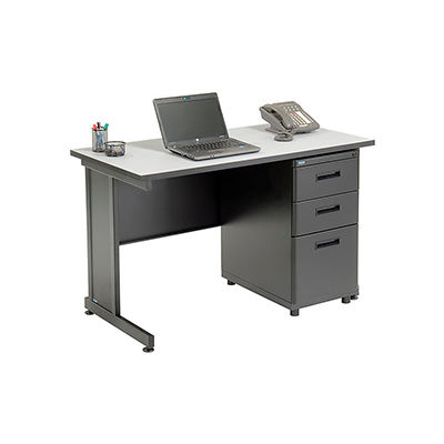 """Interion® Office Desk with 3 Drawers - 48"""" x 24"""" - Gray"""