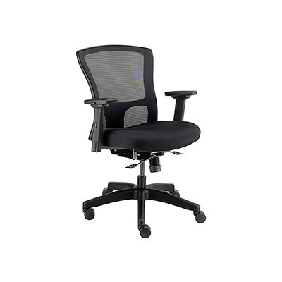 Interion® 24 Hour Mesh Back Task Chair and Seat Slider - Fabric - Black