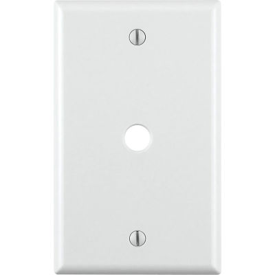 """Leviton 88013 Telephone/Cable Wallplate, 1-Gang, Standard Size, .406"""" Hole, White - Pkg Qty 25"""