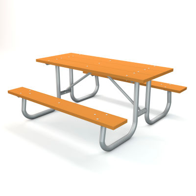 Global Industrial™ 6' Recycled Plastic Rectangular Picnic Table with Galvanized Frame, Cedar