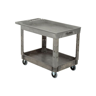 """Industrial Strength Plastic 2 Tray Shelf Service & Utility Cart, 44"""" x 25-1/2"""", 5"""" Rubber Casters"""