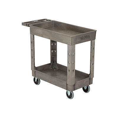 """Industrial Strength Plastic 2 Shelf Tray Service & Utility Cart, 38"""" x 17-1/2"""", 5"""" Rubber Casters"""