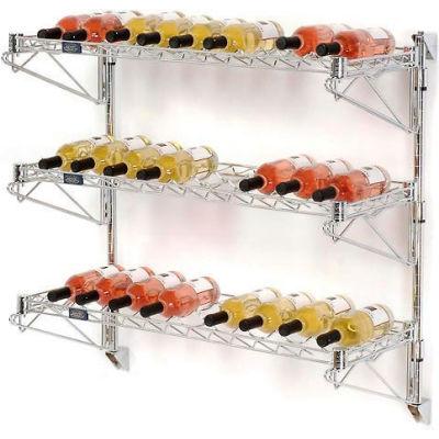 """Wine Bottle Rack - Single Wide 3 Shelf Wall Mount 36 Bottle 48""""W x 14""""D x 34""""H"""