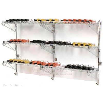 """Wine Bottle Rack - Double Wide 6 Shelf Wall Mount 54 Bottle 72""""W x 14""""D x 34""""H"""