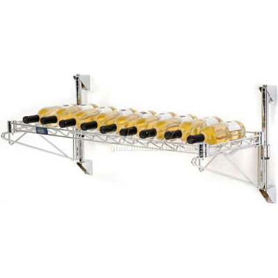 "Wine Bottle Rack - Single Wide 1 Shelf Wall Mount 13 Bottle 48""W x 14""D x 14""H"