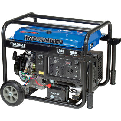 Global Industrial™ Portable Generator W/ Electric/Recoil Start, Gasoline, 6500 Rated Watts