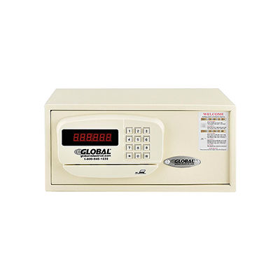 Global Industrial™ Personal Hotel Safe Electronic Lock w/Card Slot 15Wx10Dx7H Keyed Alike, WHT