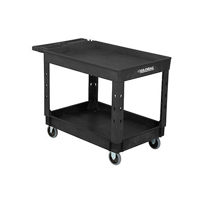 """Industrial Plastic 2 Tray Black Shelf Service & Utility Cart, 44"""" x 25-1/2"""", 5"""" Rubber Casters"""