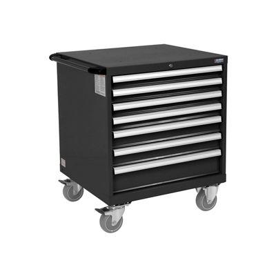 Global Industrial™ Mobile Modular Drawer Cabinet 7 Drawers w/Lock 30x27x36-7/10 Black