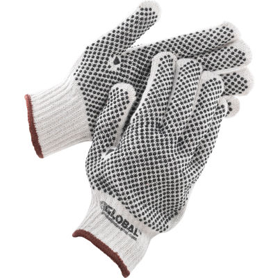 Global™ PVC Dot Knit Gloves, Double-Sided, Black, Large, 1-Dozen