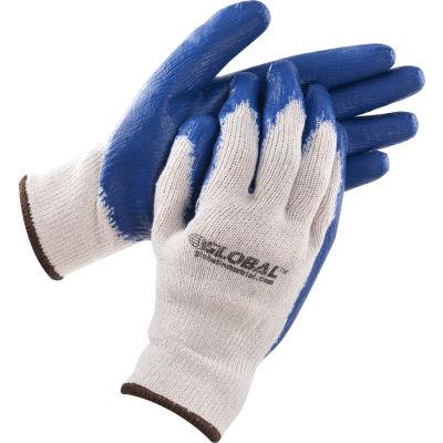 Global™ Latex Coated String Knit  Work Gloves, Natural/Blue, Large, 1-Dozen