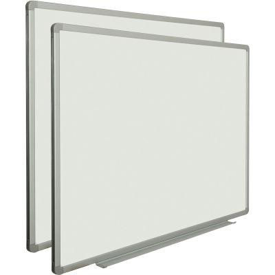 Global Industrial™ Porcelain Dry Erase Whiteboard - 48 x 36 - Aluminum - Pack of 2