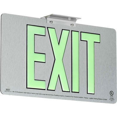 Dual-Lite DPLPM50DBA Exit Sign, Brushed Aluminum Face & Back w/Photoluminescent Letters, Double Face