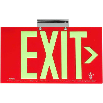 Dual-Lite DPLA75SR Exit Sign, Red Acrylic, w/ Photoluminescent Letters, Single Face