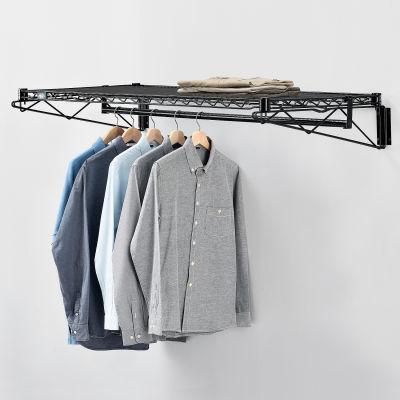 "Black Coat Rack with Bars - Wall Mount - 48""W x 24""D x 6""H"