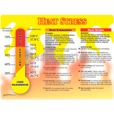 """Accuform SP124477 Safety Poster, HEAT STRESS, 17""""H x 22""""W , Poster Paper"""