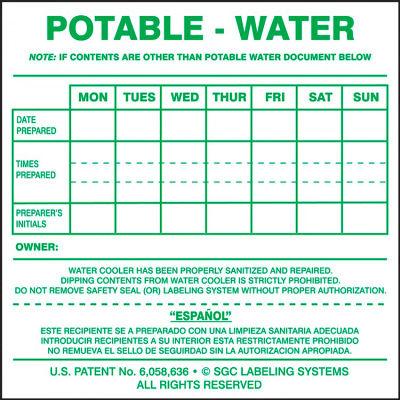 "Accuform KWC106 Water Cooler Labels, POTABLE-WATER, 6""H x 7""W, Adhesive Vinyl, 25/PK"