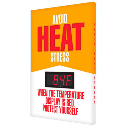 "Accuform SCK701 Heat Stress Temperature Sign, AVOID HEAT STRESS, 28""H x 20""W, Aluminum"