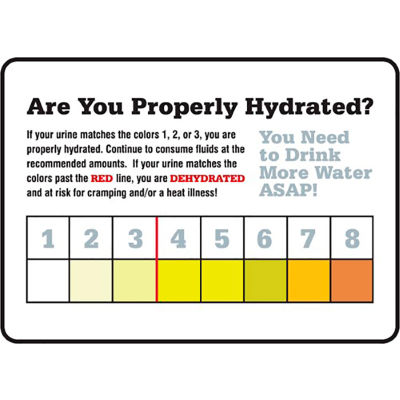 """Accuform MRST533VP Safety Hydration Card, ARE YOU PROPERLY HYDRATED, 7""""H x 10""""W, Plastic"""