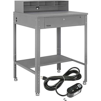 """Shop Desk with Pigeonhole Riser & Electrical Outlets 34-1/2""""W x 30""""D x 38""""H Flat Surface - Gray"""