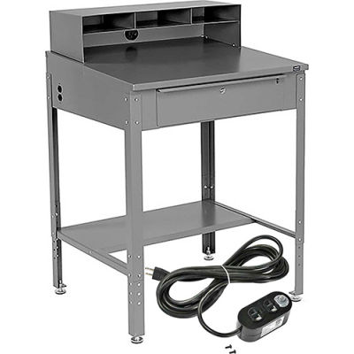 """Shop Desk with Pigeonhole Riser & Electrical Outlets 34-1/2""""W x 30""""D x 38""""H Sloped Surface - Gray"""