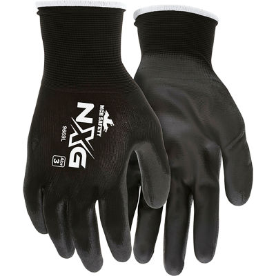 MCR Safety 9669M Economy PU Coated Work Gloves, 13-Gauge, Black, Medium, 12 Pairs