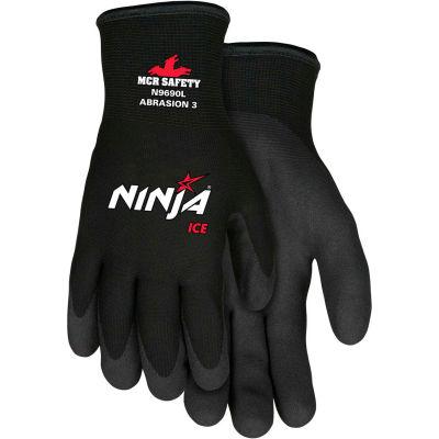 MCR Safety N9690S Ninja® Ice Gloves, Arcylic Terry Inner, Black, Small, 1 Pair