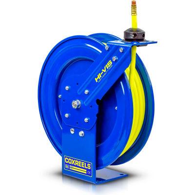 "Coxreels SH-N-350-HV 3/8"" x 50' 300PSI Hi-Vis Heavy Duty Spring Retractable Low Pressure Hose Reel"