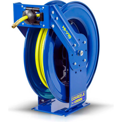 "Coxreels TSH-N-375-HV 3/8""x75' 300PSI Hi-Vis Supreme Duty Spring Retractable Low Pressure Hose Reel"