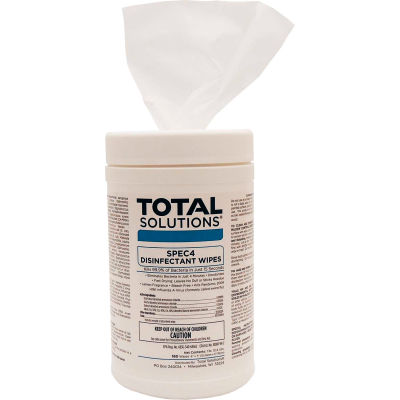 """Total Solutions SPEC 4 Disinfectant Wipes - 6""""X7"""" Wipes, 180 Wipes/Canister, 6 Canisters/Case"""