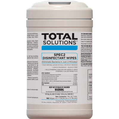 "Total Solutions SPEC 2 Disinfectant Wipes - 6""X7"" Wipes, 180 Wipes/Canister, 6 Canisters/Case"